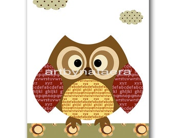 Baby Print Art for Kids Room Kids Wall Art Kids Art Baby Nursery Decor Baby Boy Nursery Baby Room Decor Print Owl Decoration Red Green