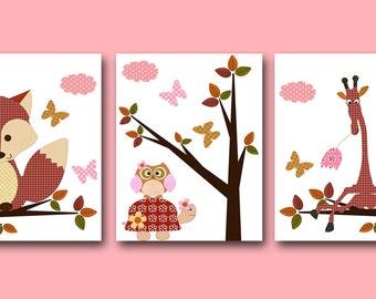 Childrens Art Kids Wall Art Baby Girl Room Decor Baby Girl Nursery Decor Kids Art Baby Nursery Prints set of 3 Red Foxes Owl Giraffe