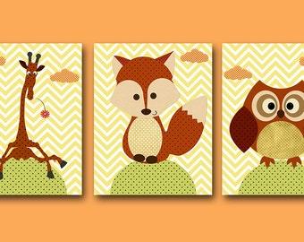 Giraffe Nursery Art Print Childrens Wall Art Baby Boy Girl Nursery Art Kids Print Nursery Decor Boy set of 3 Owl Giraffe Fox Yellow Green /