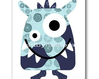 Monster Nursery Baby Boy Nursery Decor Baby nursery print children art print Nursery Print Boy Art 8x10 monster blue