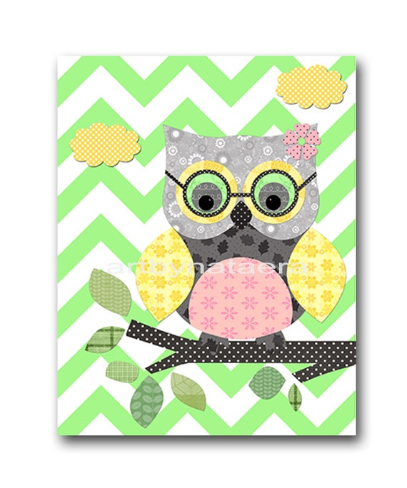 Owl decor owl nursery baby girl nursery decor baby by artbynataera - Girl owl decor ...