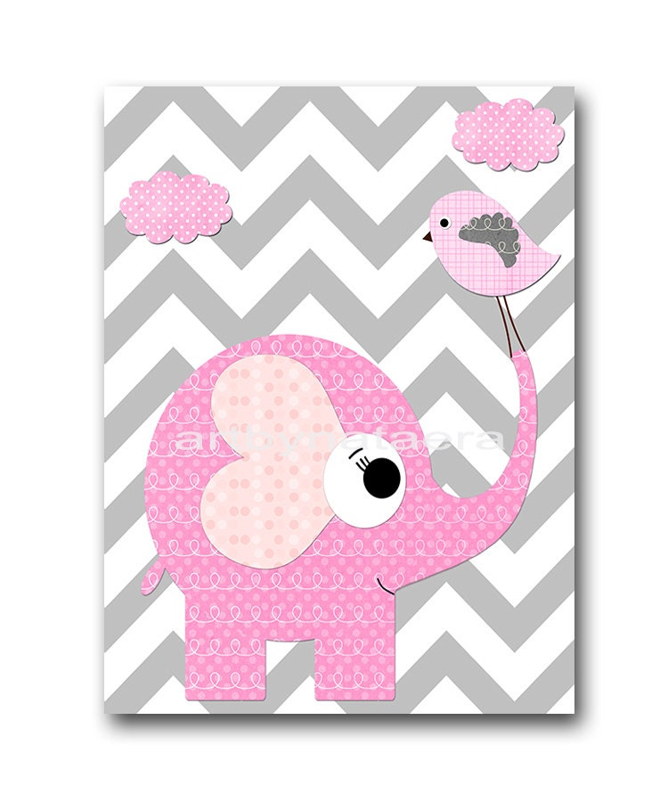 Nursery Art For Children Kids Wall Art Baby Girl Nursery Baby: Elephant Bird Baby Girl Nursery Art Print Childrens Wall Art