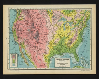 Vintage Physical Map of United States From 1944 Original