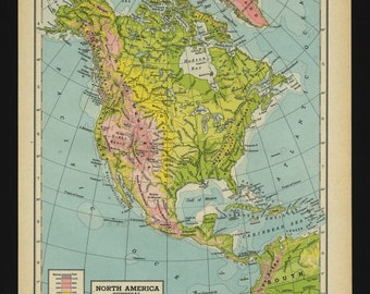 Vintage Physical Map North America From 1944 Original