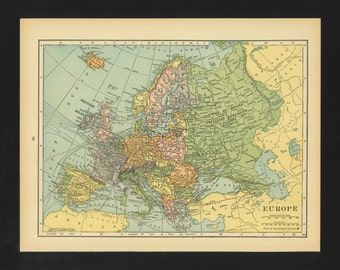 Vintage Map Europe From 1930 Original