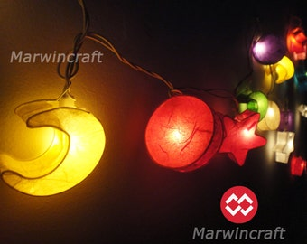 Battery or Plug 20 Moon Star Sun Multi Color Paper Handcraft Fairy String Lights Party Patio Wedding Floor Hanging Gift Home Decor Bedroom