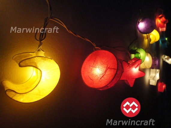 String Of Blinking Lights Paper Moon : Battery or Plug 20 Moon Star Sun Multi Color Paper Handcraft