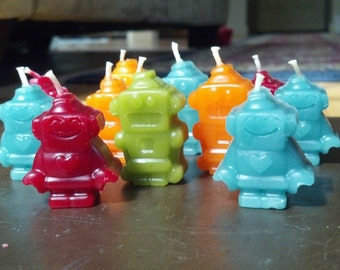 Robot Beeswax Birthday Candles, 4-Pack Gift Boxed