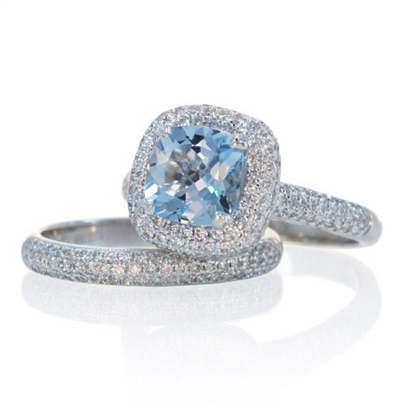 bridal set cushion cut aquamarine engagement ring set by