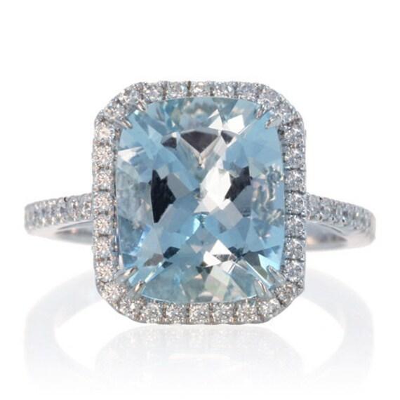 Items similar to 14K White Gold 11x9 Cushion Cut Aquamarine Diamond Halo  Solitaire Engagement Ring on Etsy