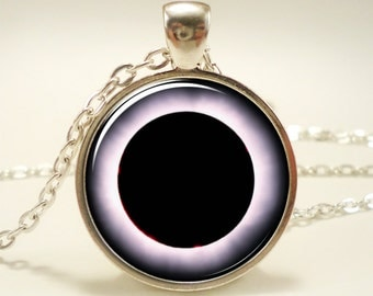Solar Eclipse Necklace, Moon and Sun Science Jewelry, Sci Fi Pendant (1545S1IN)