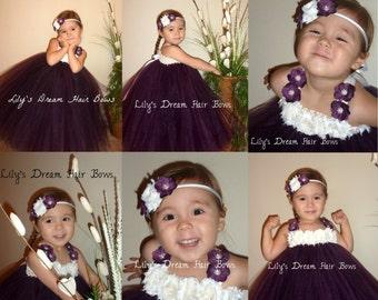5%OFF eggplant tutu dress eggplant flower girl  tutu dress ivory and eggplant tutu  plum tutu dress flower girl dress