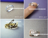 10% off // Font 4 // Name Ring, Personalized name ring , made your name , box included. Valentine - mother - graduation- bridesmaid gift.