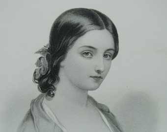 Victorian woman portrait, Steel engraving, Victorian beauty, Young lady J Fisher Victorian woman, Dark haired girl
