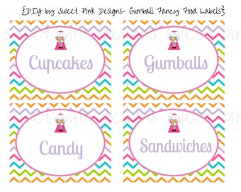 Printable Fancy Labels- Gumball Party Collection