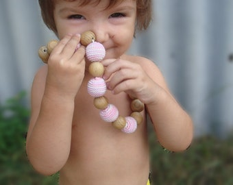 SALE Nursing necklace Girls Crochet Light pink  Teething Bead Natural and Eco-Friendly - Toddler Girls Jewelry