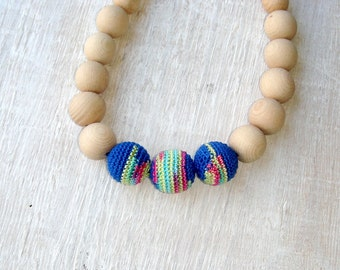 Nursing necklace,Teething necklace,Northern lights,Crochet Necklace, eco friendly,chewing beads,Mommy and Baby Necklace,Teething Baby