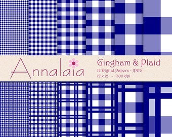 INSTANT DOWNLOAD Digital Paper Pack: Navy Blue and White Gingham Plaid Checks Squares 12x12 8,5x11 Scrapbook Paper 313