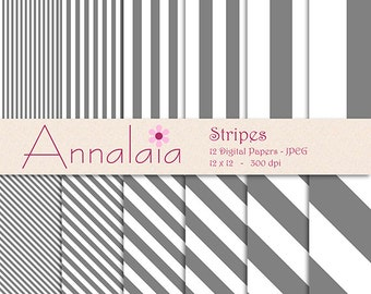 INSTANT DOWNLOAD Digital Paper Pack: Gray and White Vertical Diagonal Stripes Lines 12x12 8,5x11 Digital Scrapbook Paper Commercial Use 194