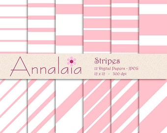 INSTANT DOWNLOAD Digital Paper Pack: Pink White Horizontal Diagonal Stripes Baby Girl Scrapbook Paper 12x12 8,5x11 Commercial Use 365