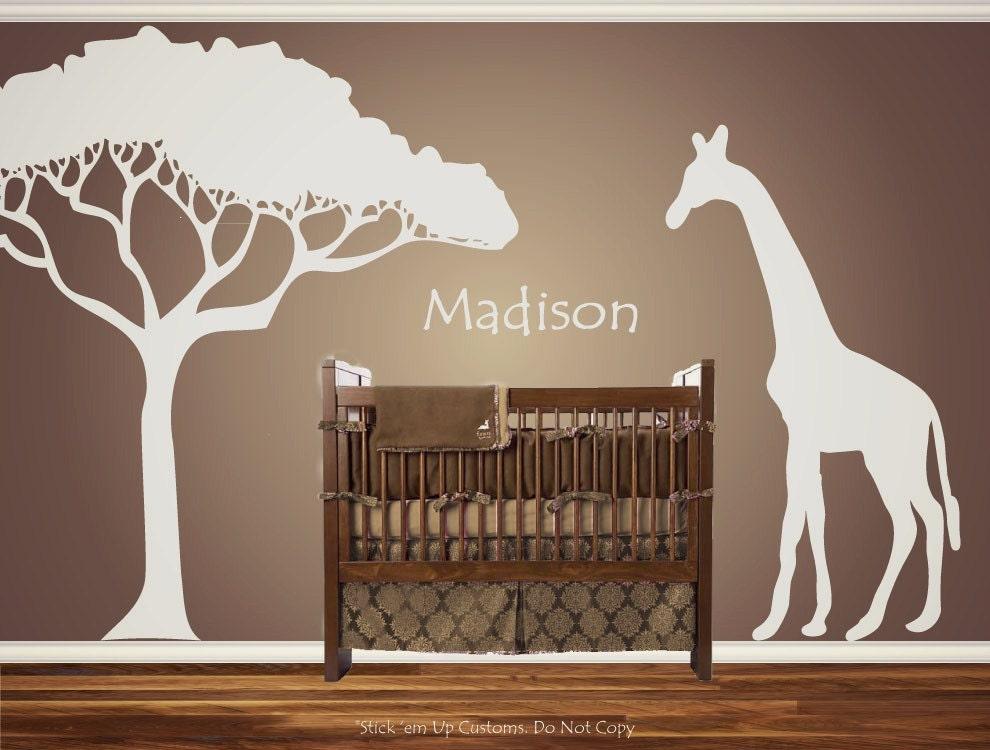 Personalized Custom Giraffe Animal Nursery Wall Decal Crib