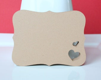 "100 - Kraft Top Note with Heart Cut Out for Labels/Journalling/Wedding Place Settings/Escort Cards - 2.5"" x 3.25"""
