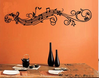 Wide 120cm Removable Music Note  Nature Vinyl Wall Paper Decal Art Sticker Q860-1