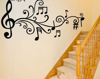 105x50cm Removable Music Note  Nature Vinyl Wall Paper Decal Art Sticker Q862-1