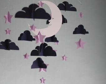 Moon and Stars Paper Mobile - Plum