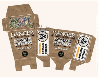 Sale Zombie Outbreak Party Favor Gift Box Printable Digital