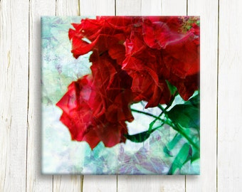Red flowers printed on canvas - Framed canvas art