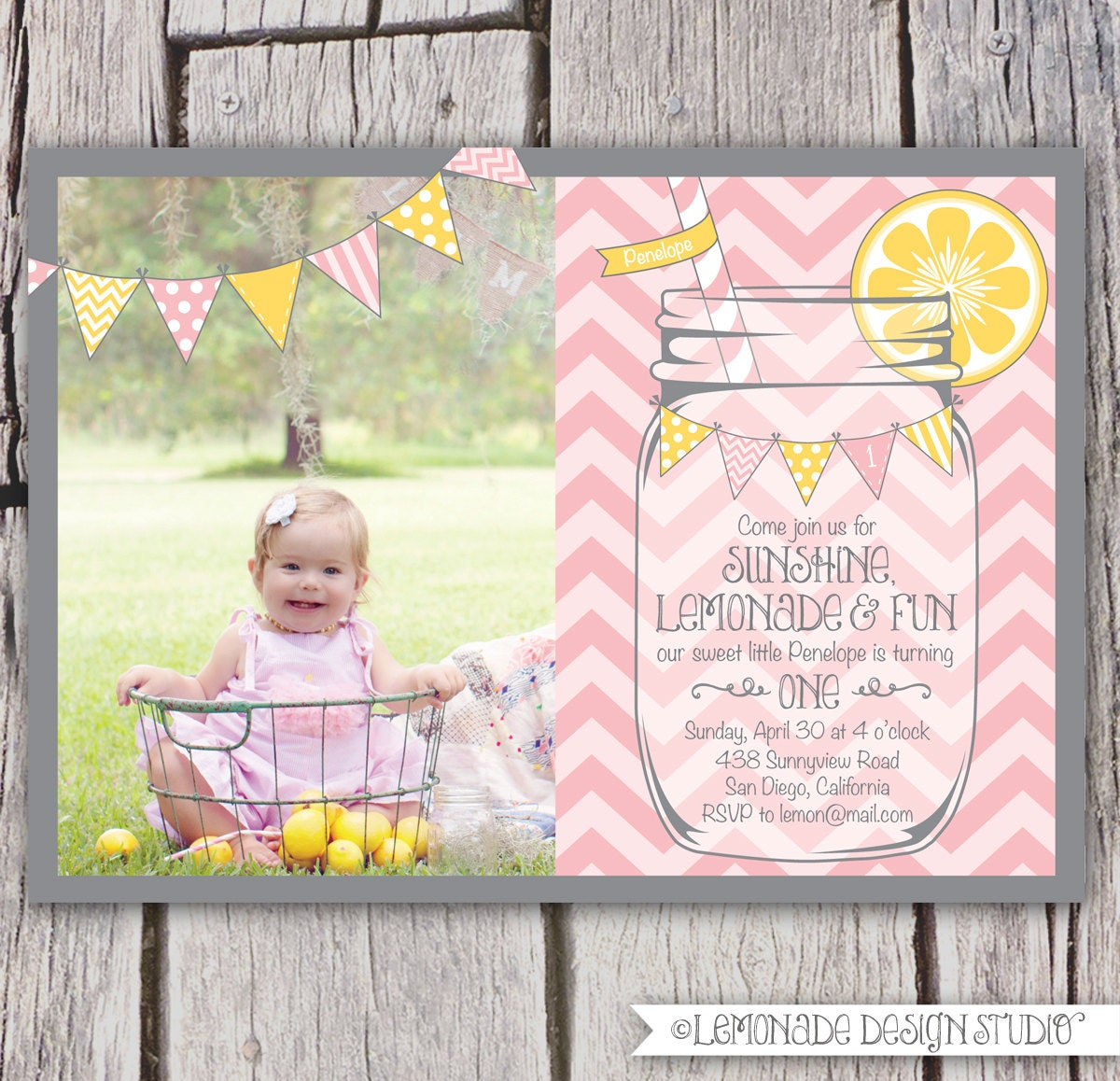 Girls First Birthday Lemonade Invitation By