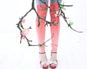 Blossom tree - light gray and coral pink color block leggings - ZIBtextile