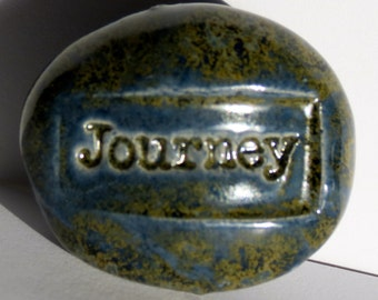 JOURNEY Magnet  -  ANTIQUE BLUE Art Glaze - Ceramic - Inspirational Art Piece