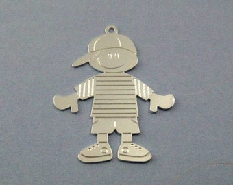 Sterling Silver filled boy charm, 30x24mm