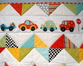 "Chevron Car Baby Crib Quilt in Modern Bright Colors, 41"" x 43"", Shower Nursery Newborn Gift"
