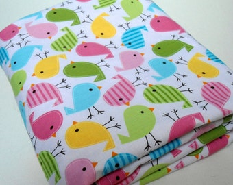 """Personalized Baby Blanket Minky with Happy Birds, Boys and Girls,  29"""" x 35"""",  Custom Embroidery, Car Seat Receiving Stroller Blanket"""