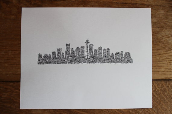 Seattle Skyline Outline Drawing Seattle Skyline Silhouette