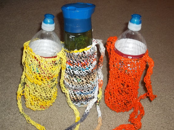 Recycled Plastic Knitted Water Bottle Carrier Bag