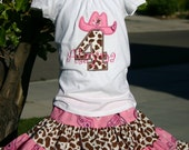 Ari's Angels  Pink and Brown Cowgirl Birthday outfit Monogrammed Personalized Shirt & Full Twirling Skirt