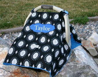 Ari's Angels Personalized Baby boys Carseat Canopy or cover Embroidered, Appliqued, Monogrammed