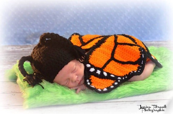 crochet photo prop 'Monarch Butterfly' hat and winged diaper cover set- size newborn or 0-3months