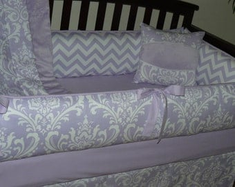 Lilac Osborne Damask , Chevron , Custom Baby Girl Crib Bedding 3-5 pc. Set