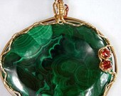 HOLD FOR Georgianne-----Malachite Wire Wrapped Jewelry Pendant and matching necklace E1916j