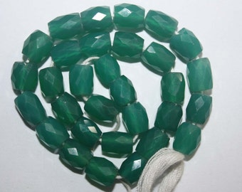Natural AAA Quality Green Onyx 5X7 to 6X9mm Faceted Dholki Gemstone Beads 10 Inches FMX05