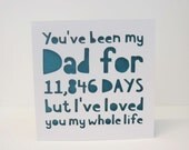 You've been my Dad / Daddy / Father's Day Days personalised papercut card