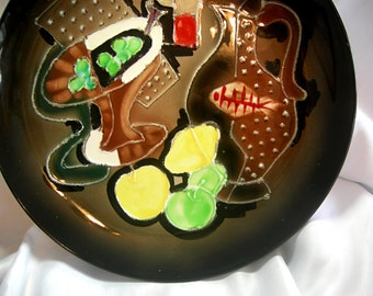 Hand Painted Brown and Earth Tone  Abstract Art Still Life Wall Plate - Hallmark WALES Made In JAPAN Reg US Pat Off - Vintage