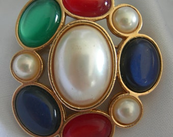 Jeweled Classics Colorful Ruby Red, Sapphire Blue and Emerald Green Jelly Cabochons & Faux Pearls Brooch Pin - Signed AVON - Vintage 1983