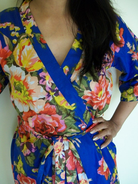 Code :A-5 Floral Kimono Crossover patterned Robe Wrap - Bridesmaids gift, getting ready robes, Bridal shower favors, baby shower