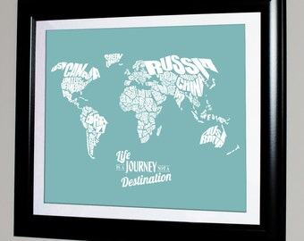 Life is a Journey not a Destination - World Word Map Travel Quote Map, Home Decor, Childrens Bedroom, Graduation Gift, Typography Stencil